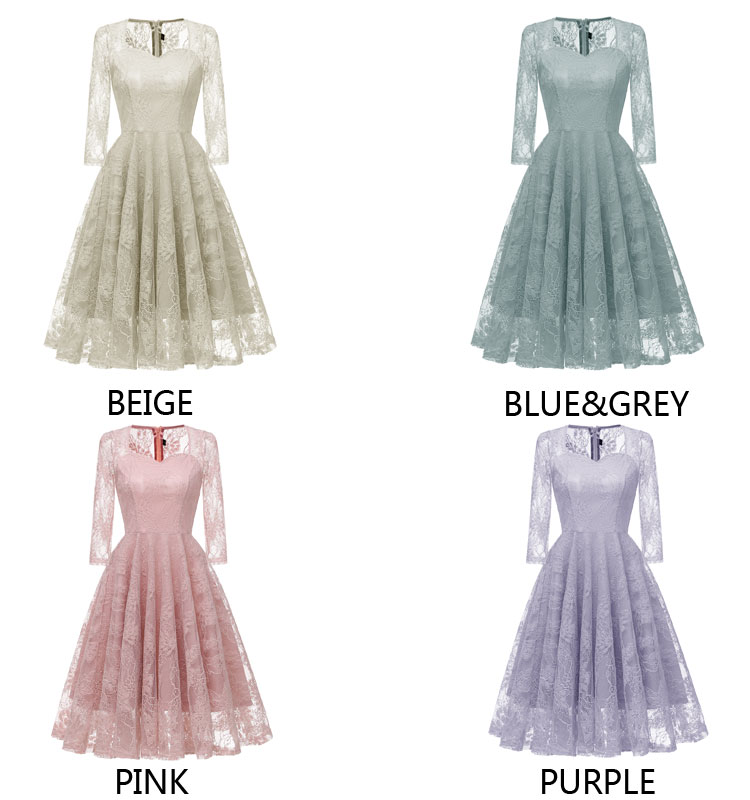 Teenagers Vintage Sexy Lace Women Autumn Zipper Solid Slim Prom Big Swing Best Selling Evening Hollow Chic Flower Girl Dresses
