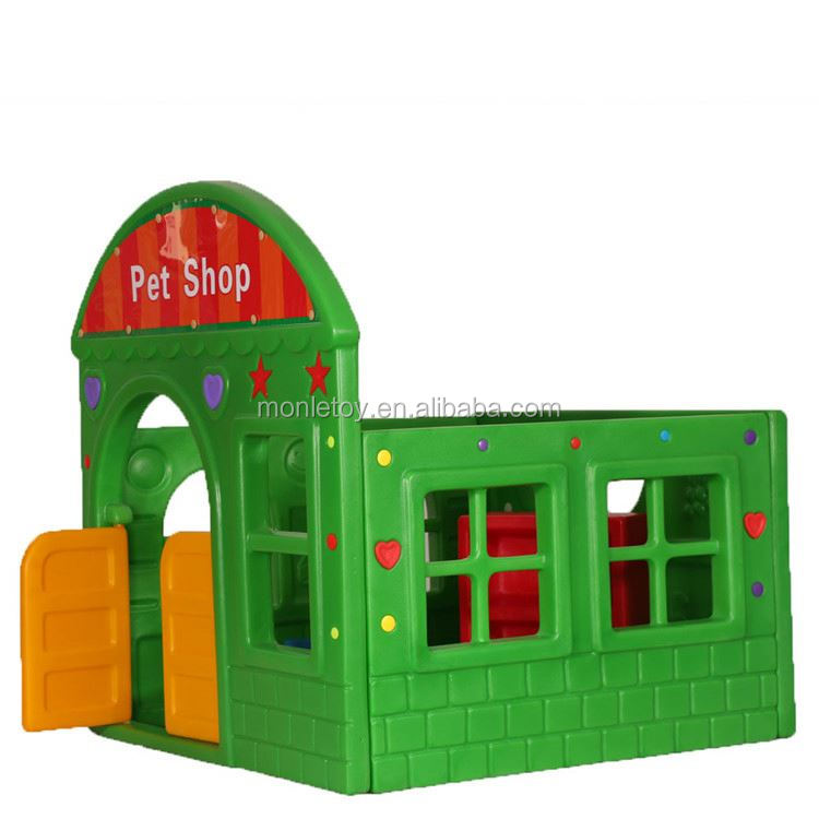 2017 Hot plastic combines castle series outdoor toddlers kids pet shop playhouse for sale