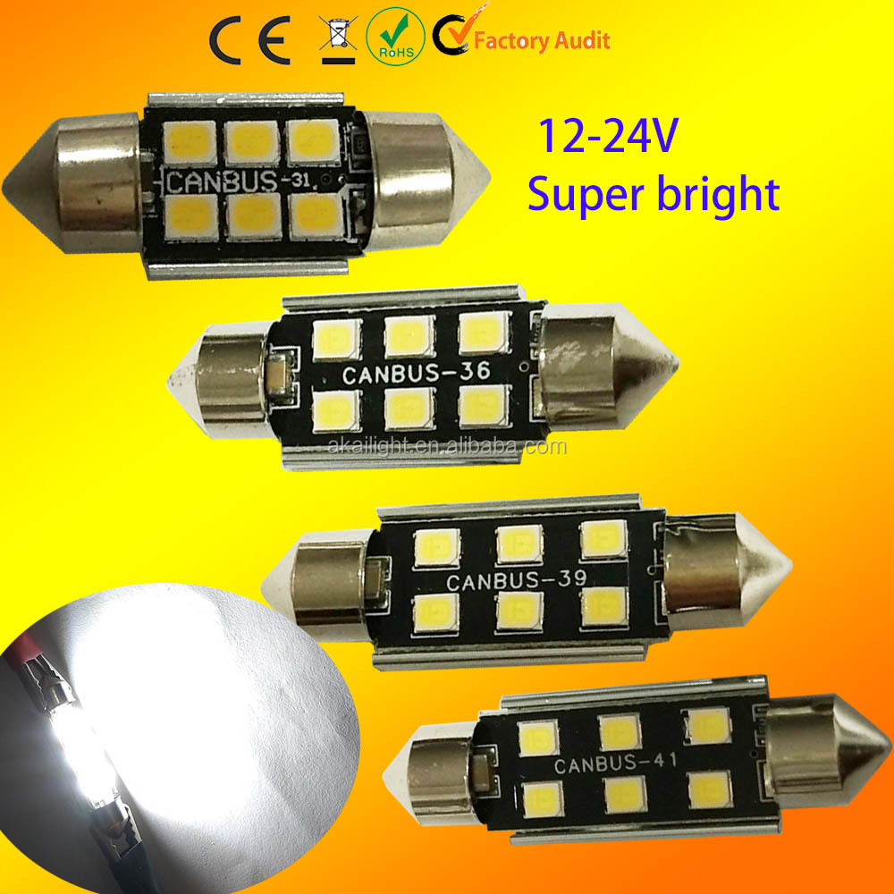 C5W led festoon dome light bulb 2835 CANBUS 31MM 36MM 39MM 41MM 42MM License Plate LED Interior Dome led Light Bulb error free