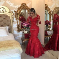 2017 Vestido De Festa Pearls Mermaid Formal Women Party Dress Long Sleeve Red Lace Prom Dresses MP1014