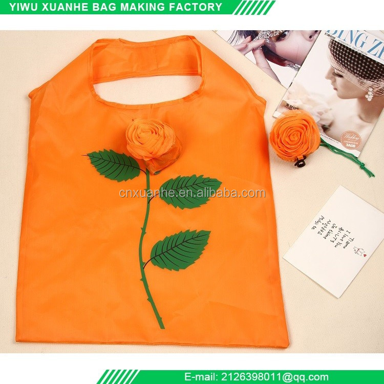 Alibaba online supply polyester rose shaped foldable shopping bag