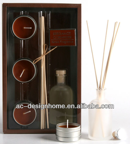 BROWN COLOR BERGAMOT CORIANDER FRAGRANCE 100ML AROMA HOME REED DIFFUSER GIFT SET W/GLASS BOTTLE, 3 PCS TEALIGHT AND 5 PCS REED