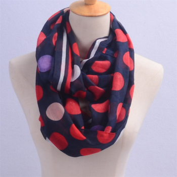 Fashion Design Red Polka Dot Polyester Voile Infinity Scarf