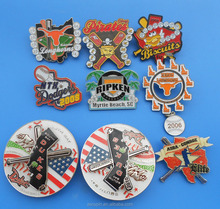 custom glitter trading pins with sliders and danglers for baseball/softball sports and events