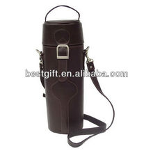Hot design PU/genuine leather wine carrier gift bag single wine tote with shoulder strap