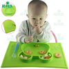 Novelty Panda Design One-piece silicone placemat + plate, FDA Approval Silicone Placemat for Kids, Toddlers & Baby Plate