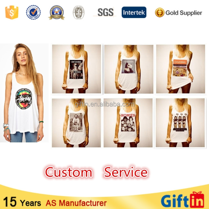 Fashion Custom Printing Wholesale Cotton Gym Women Tank Tops Singlet