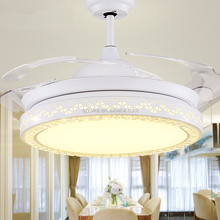 High quality simple modern dining room invisible blade ceiling fan with LED lights