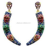 Colorful skull drop girls earring ox horn shaped eardrop hanging earring piercing glaze earring(EA81119)