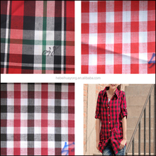 100% cotton plain dyed check shirting fabric