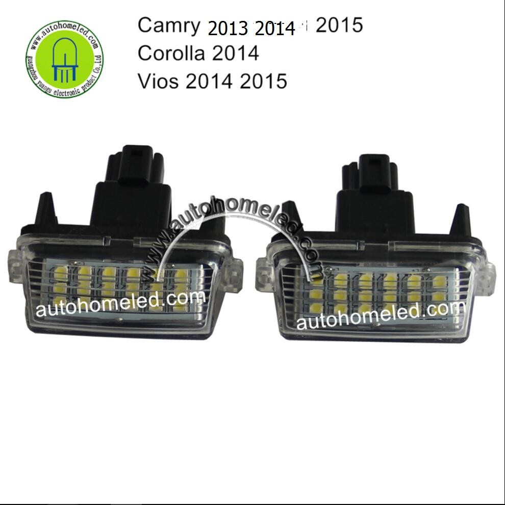 Number Plate Light for Toyota Camry 2013 2014 2015 Vios 2014 2015 New Corolla 2014 Yaris 2012 Up LED License Plate Light