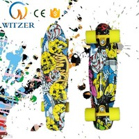 Wholesale color attachable wheels water transfer printing mini kids fish board skateboard
