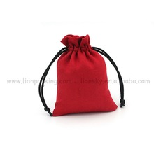 simple red packing micro suede mobile accessories pouch