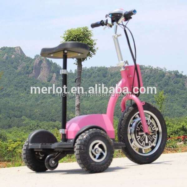 New design three wheeler standing up electric and petrol scooters with big front tire