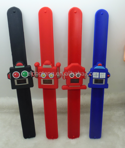 quality sport waterproof robot silicone digital snap watch for boys with CE