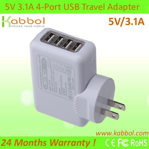 USB Cargador 4-Port USB Charger+5V/3.1A USB HUB with 4 ports for Samsung Galaxy S6/S6 Edge, S5/S4/S3, Note2, Note3, and Note4