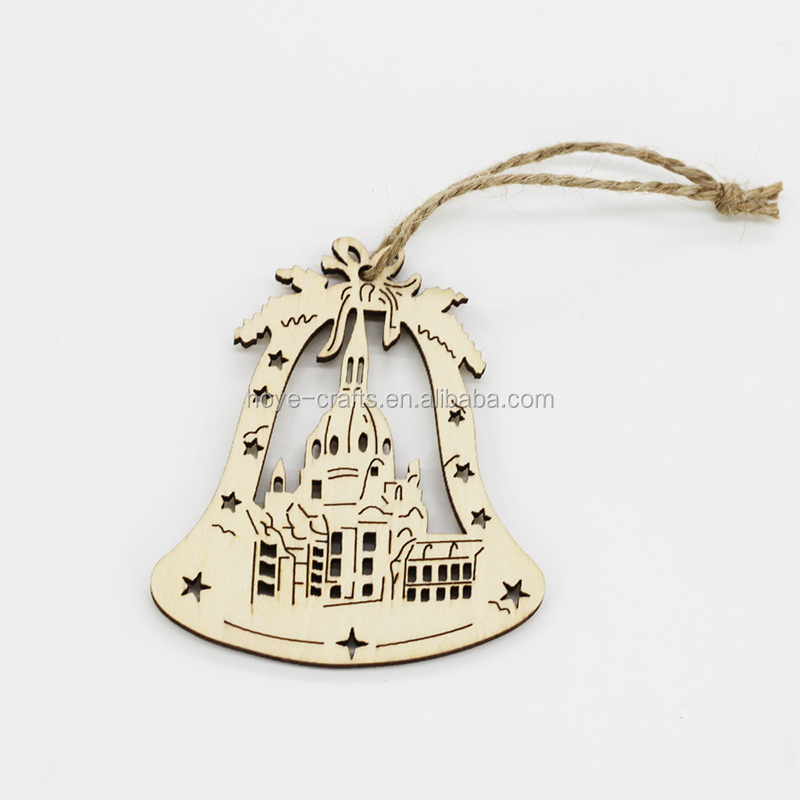 Nordic wooden Christmas hanging wooden tree hanging bell decoration