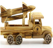 Originality design digital small rocket car model wood toy
