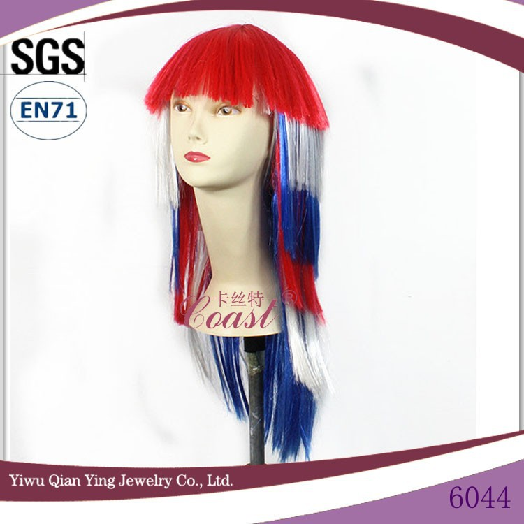 fashional fans carnival flag color synthetic party wig