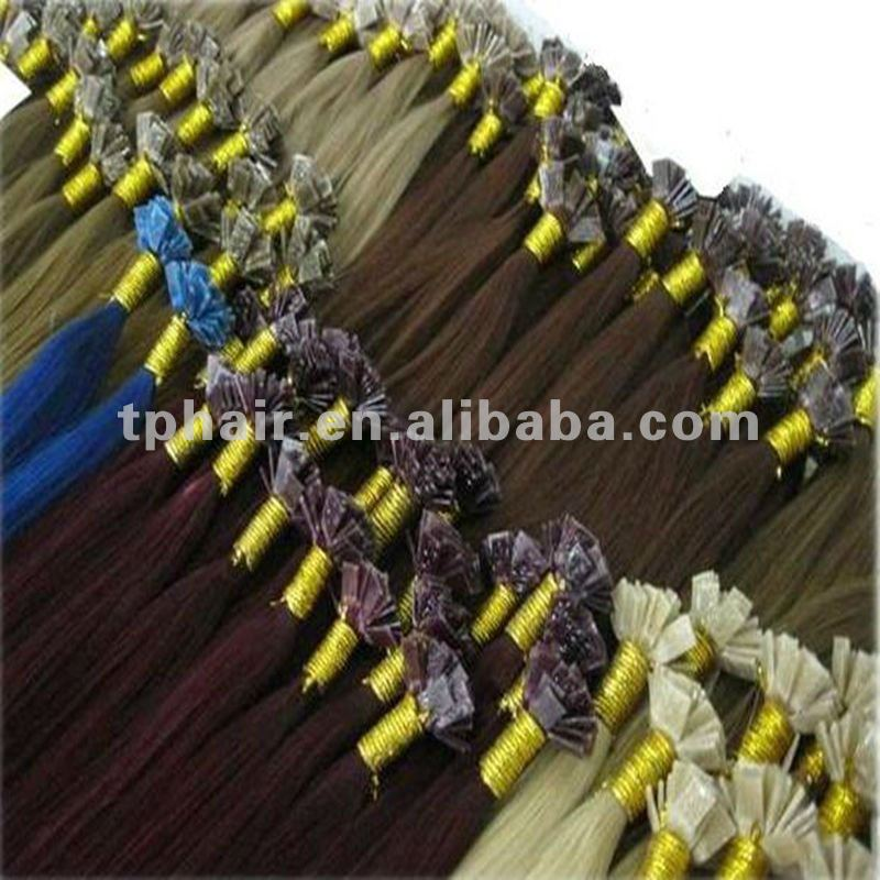 hot sales pre-bonded flat tip hair 0.5/0.8g/1g/strand extensiona/remy human stick hair extension/0.7g stick tipped hair ex