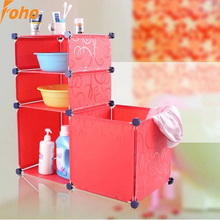 4 cubes Eco-friendly PVC material Red color Bathroom storage organizer