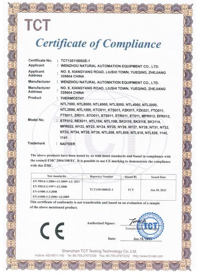 Thermostat CE-EMC Certification