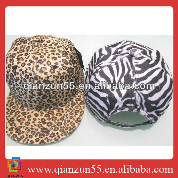 promotional cheapest golden lion zebra leopard flat bill caps snap back