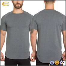 Place Sample Order Side Split Extended Scooped Hem Cut Design Short Sleeve Lightweight Fitted Tee