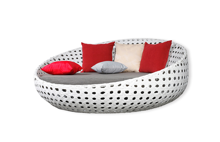 Promotional New Style fireproof and waterproof polyester Outdoor Patio Furniture Garden Wicker beach Daybed