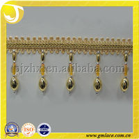 Gold decorative beads Curtain drapery finish Hanging Tassel fringe trim for home and Textile Decor