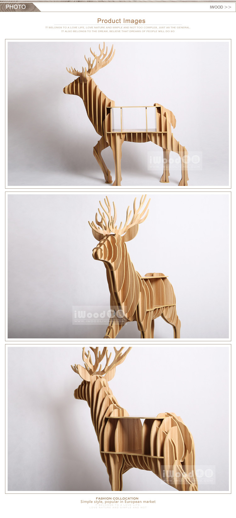 Modern style elk animal shape showroom book display shelf