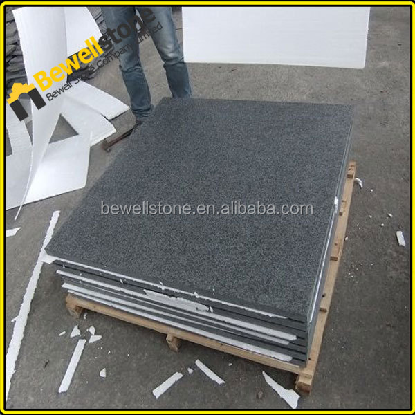 Cut to size polished China g684 pearl black granite price