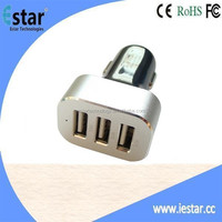 High quality 6.6A 3 port car mobile charger with Aluminum case