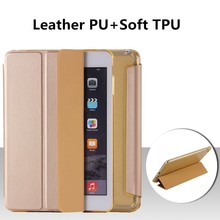 New Arrival Stand Leather Case For iPad mini3 Soft TPU Smart Leather Case For iPad mini2