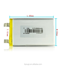 Manufacturers selling PL105085 high capacity polymer lithium battery 5800 mah security led lithium battery