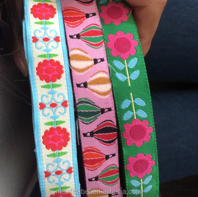 china colorful high density custom polyester jacquard weave ribbon