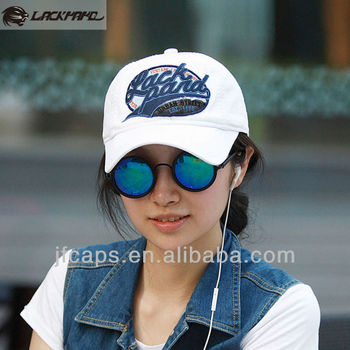 Unisex white sports cap,serging embroidered baseball cap,washed leisure headwear