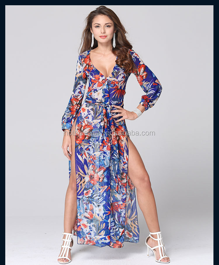 Wholesaler Summer Sexy V Neck Chiffon Beach Floral Long Dress With High Slit RYG-L865