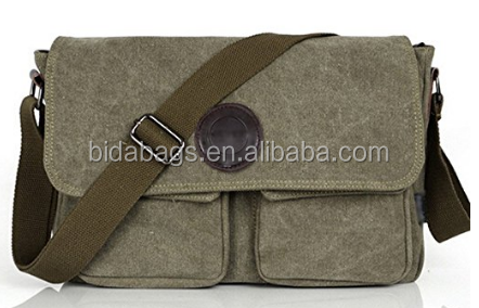 Vintage Canvas Leather Messenger Bag Traveling Briefcase Shoulder Bag for Men and Women, Army Green