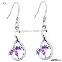 18K White Gold Plated 925 Silver Twist Purple Crystal Leaves Drop Earrings