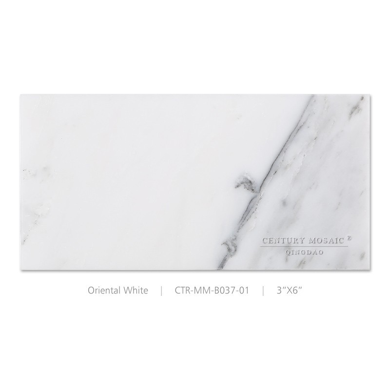 China polished oriental white marble tile for floor bathroom