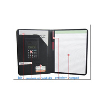 faux leather file folder pen document pad holder portfolio with calculator scientific for women