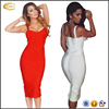 New arrival 90%rayon women sexy mid calf red white strap wholesale bandage dress 2016 bodycon sexy bandage dress