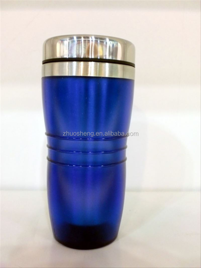 FDA LFGB double wall S.S inner-plastic outer photo insert insulated coffee mug with lid