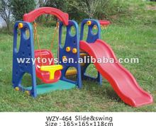 Famous plastic playset slide and swing
