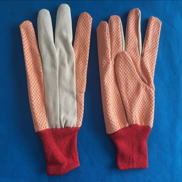 High quality garden canvas working gloves with pvc dots manufacture