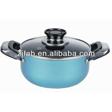 Popular Design Light Blue Aluminum Non-stick Saucepot with Glass Lid