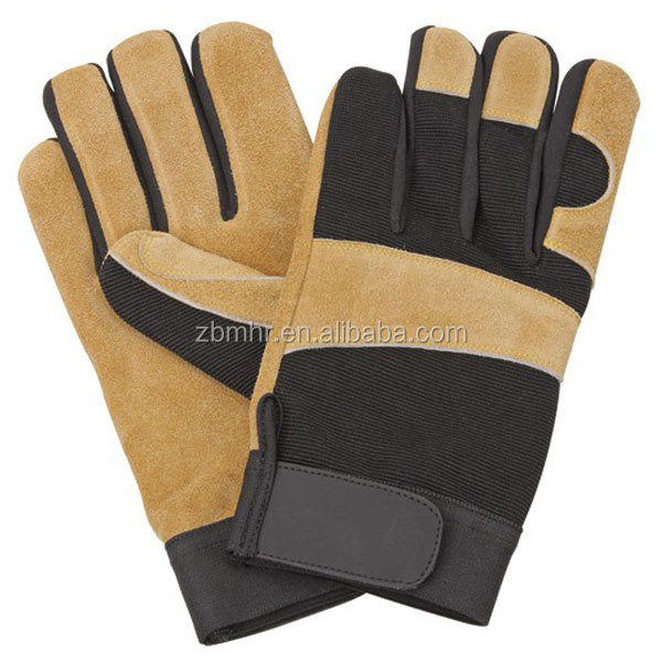 Brand MHR leather welding gloves reinforced green king gloves