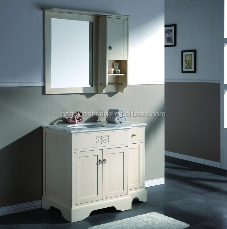 QI-1002 New Classic wooden bathroom vanity with marble countertop