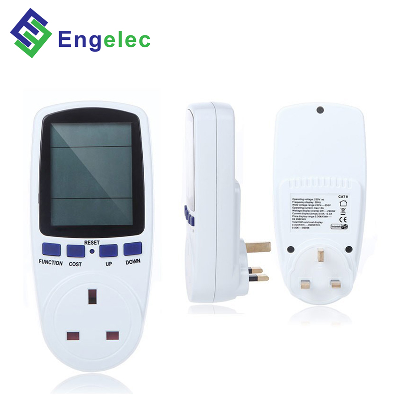 UK standard home usage electric consumption measure device multi function digital display mini power meter